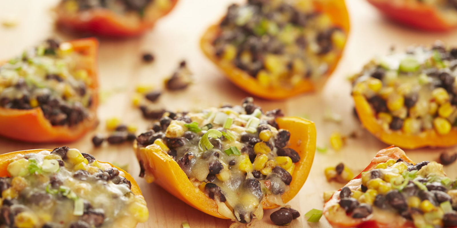 Stuffed Peppers with Corn, Black Beans, and Pepperjack