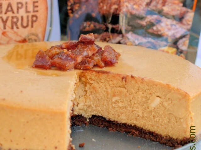 Maple Cheesecake with Candied Bacon and  Brownie Brittle ™ Salted Caramel Crust