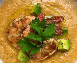 Tomato Gazpacho with Avocado and Grilled Shrimp