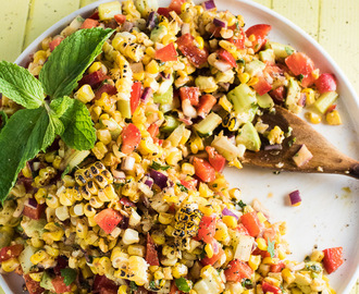 Roasted Corn and Avocado Salad with Chipotle Mint Dressing