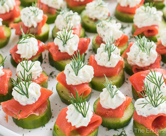 Mini Cucumber Smoked Salmon Appetizer Bites with Lemon Dill Cream Cheese