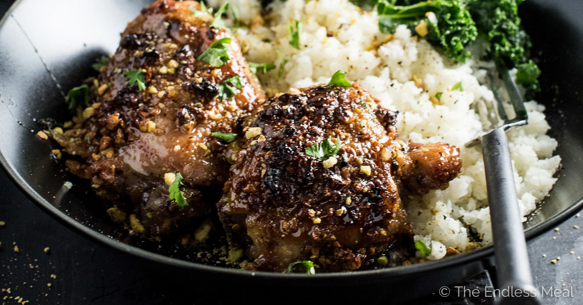 Sweet and Sticky Pistachio Honey Chicken (with cauliflower rice)