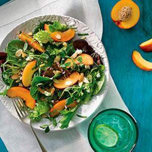 Green Salad with Peaches, Feta & Mint Vinaigrette
