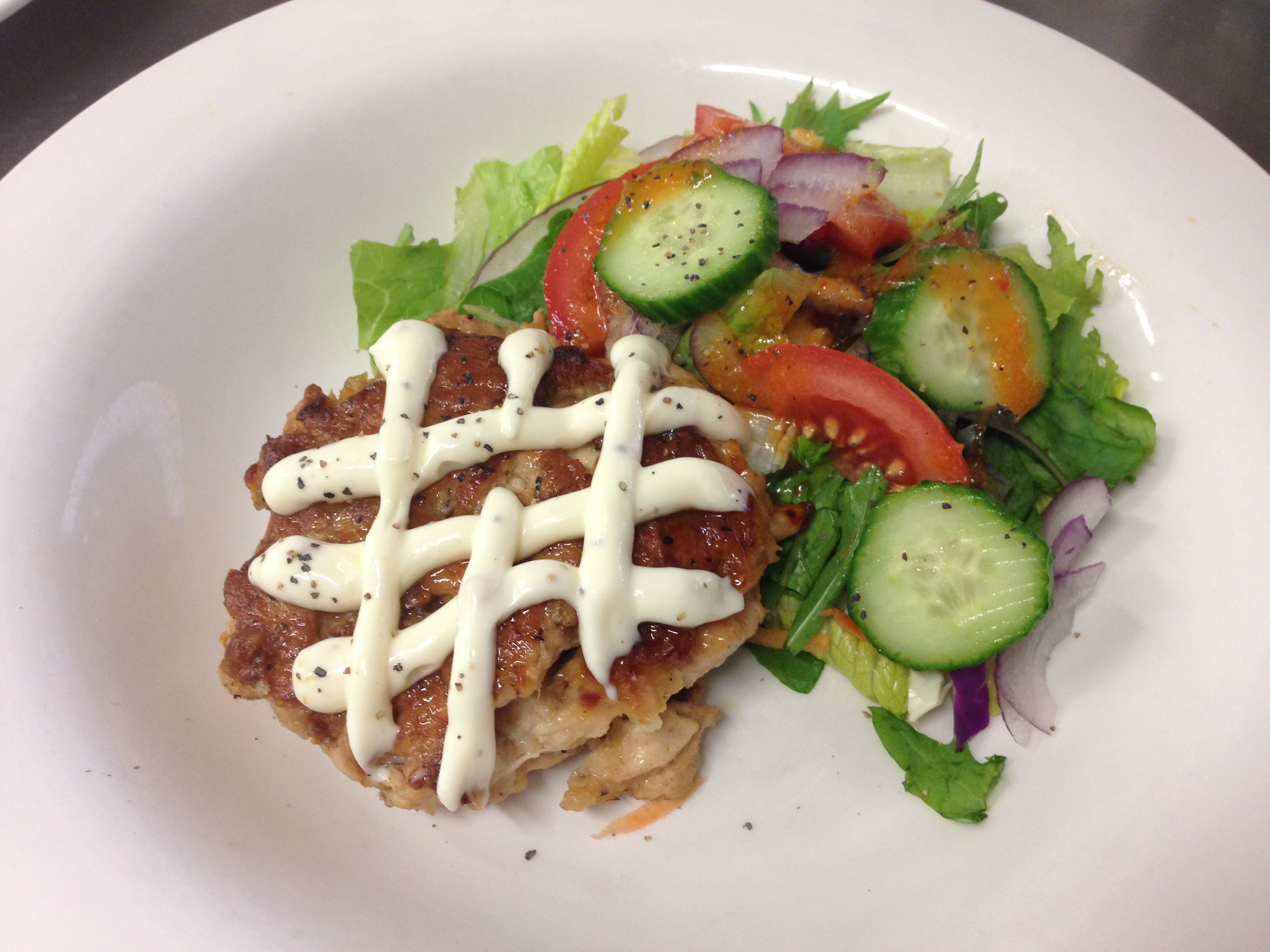 Chicken burger and garden salad