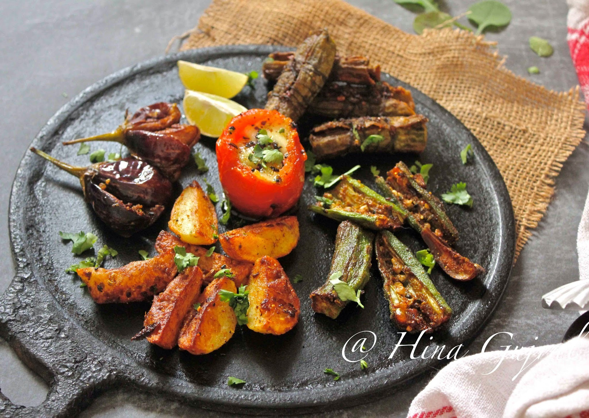 Tawa Fry Stuffed Vegetables - Pan fried mix vegetables in Indian Masala