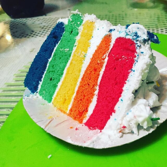 Instagram: Cakes! Cakes! Cakes! Cake #2 is Jamie's Rainbow Cake made specially for Fathers' Day! #BaconTunaMelt #rainbow