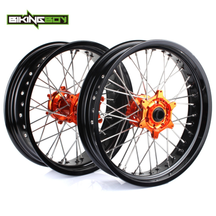 "BIKINGBOY 17"" Supermoto for KTM Wheel Orange Hub Rim SX MXC XC GS SXS EXCF SXSF XCG EXC XCW 125 150 200 250 350 450-530 03-2014"