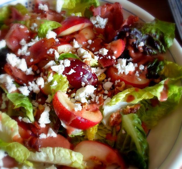 Nectarine Salad with a Strawberry Balsamic Dressing