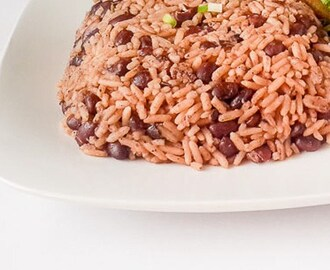 Jamaican rice and peas in a pot