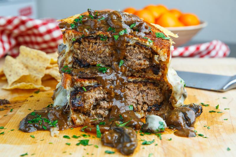 Salisbury Steak Grilled Cheese with Mushroom Gravy