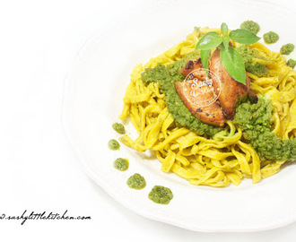 Homemade Fresh Pumpkin Pasta with Pesto and Grilled Chicken