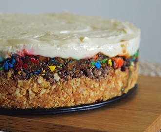 No Bake Candy Crust Cheesecake