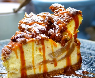 Dutch Apple Caramel Streusel Cheesecake