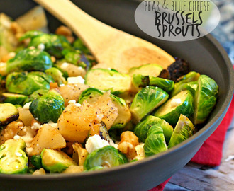 Pear and Blue Cheese Roasted Brussels Sprouts