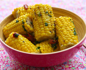 Coconut Infused Corn on the Cob with Cumin and Black Mustard Seeds