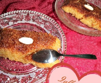 Qalb bel louz | Algerian Semolina Spoon Dessert with Almond Center