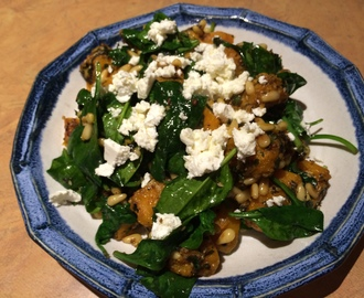 Warm Roasted Pumpkin & Spinach Salad with Dukkah, Pine Nuts & Persian Feta