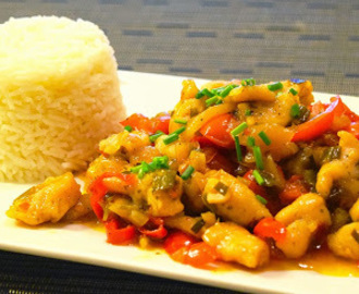 Chicken Sweet and Sour mit Reis
