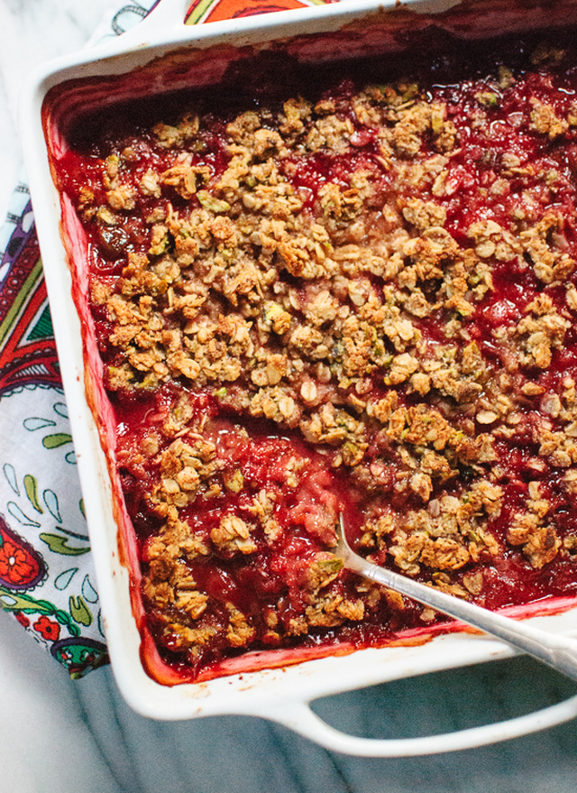 Plum Crisp with Pistachio, Oat and Almond Meal Topping