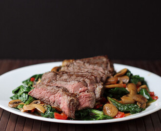 Steak and Warm Spinach Salad
