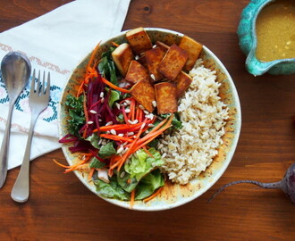 Sami's Summer Tofu Salad Bowl with Brown Rice and a Savoury Dressing