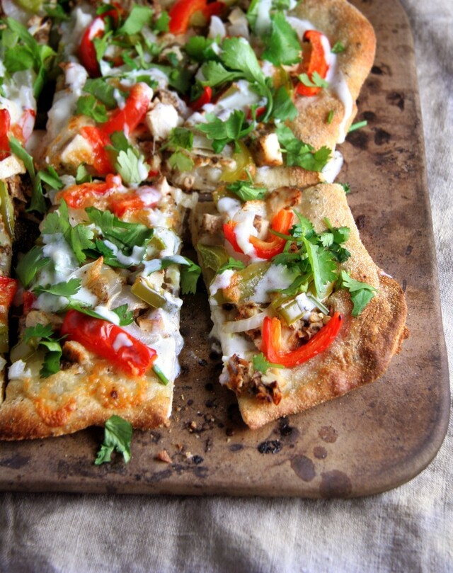 Tandoori Chicken Pizza with Honey Garlic Yogurt Sauce
