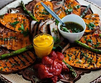 Grillad sötpotatis m. het örtolja (Roasted sweet potatoes )