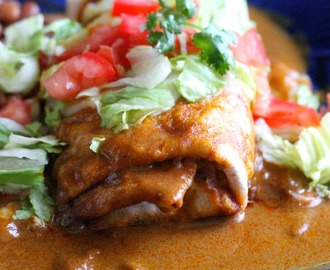 Beef and Potato Burritos Enchilada Style