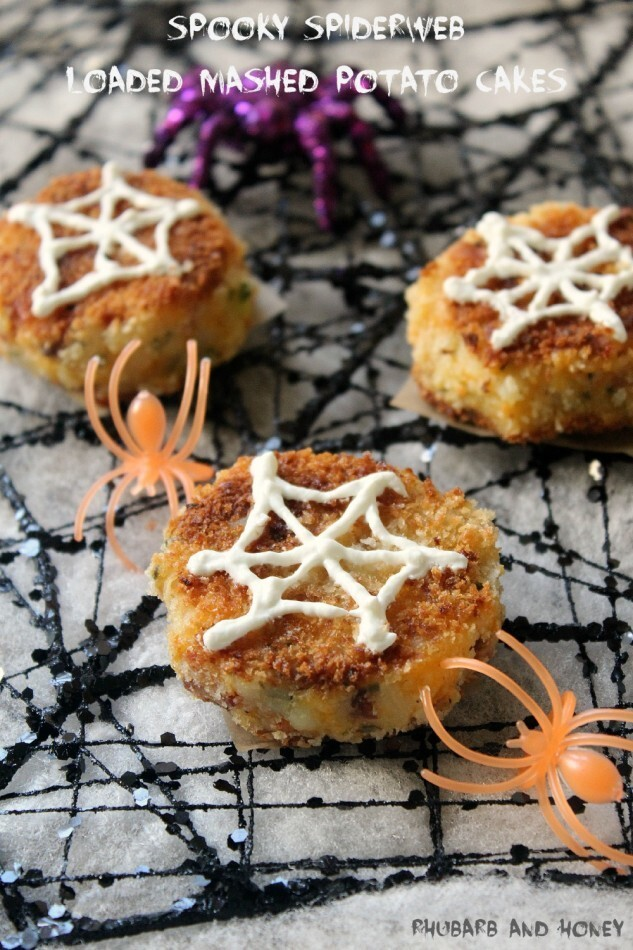 Spooky Spiderweb Loaded Mashed Potato Cakes for #SundaySupper