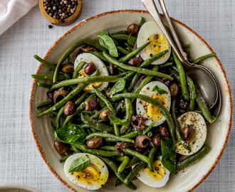 Recipes from my pantry. French bean salad with hard boiled eggs and olives