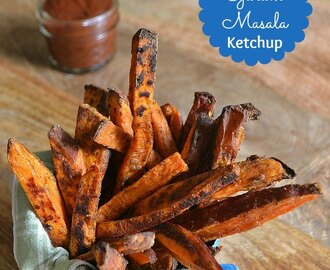 Roasted Sweet Potato Fries with Garam Masala Ketchup