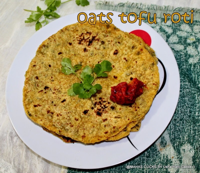 oats tofu cilantro leaves wheat flour paratha/easy indian flat bread recipes/tofu coriander leaves oats roti/step by step pictures