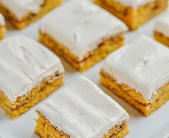 Cinnamon-Filled Pumpkin Snickerdoodle Cookie Bars with Spiced Cream Cheese Marshmallow Fluff Frosting