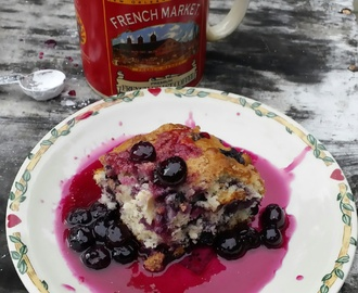 Cherry Smoked Blueberry Buckle With Blueberry Bourbon Sauce