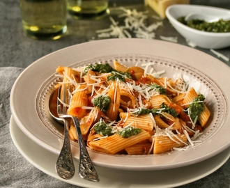 Creamy Tomato Penne with Pesto