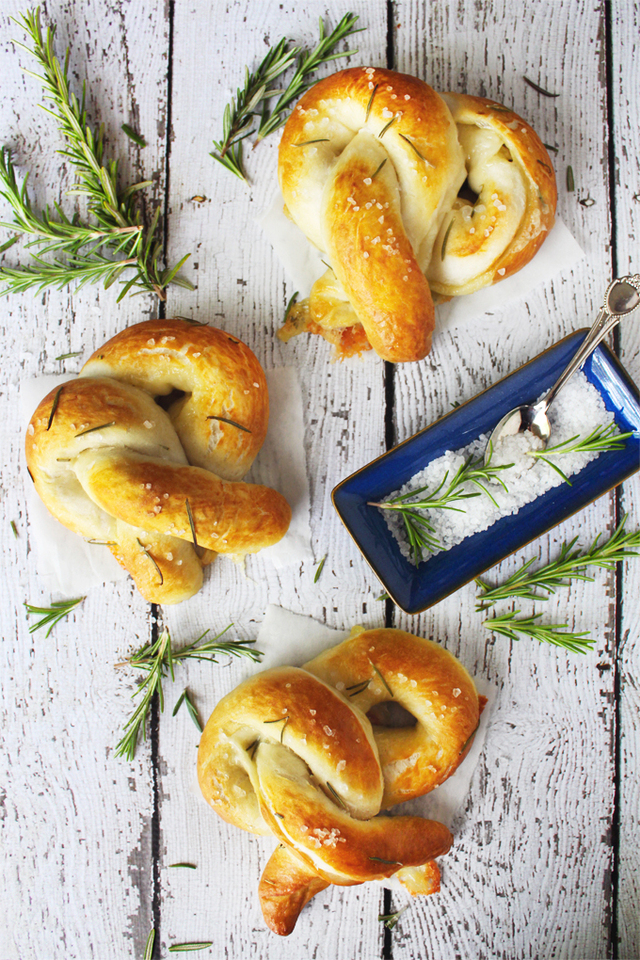 Brie-Stuffed Soft Pretzels with Rosemary & Sea Salt