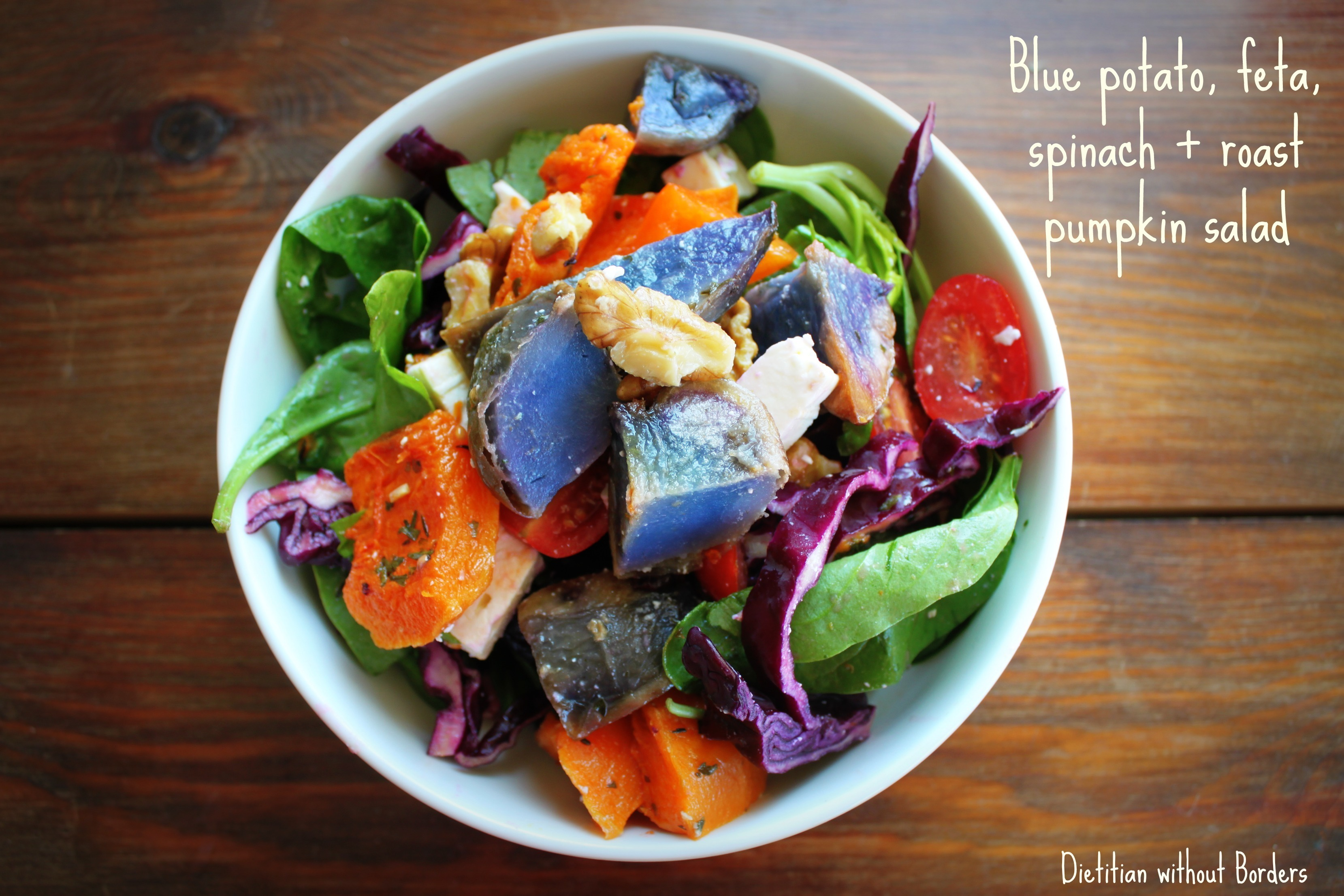 Blue potato, feta, spinach and roast pumpkin salad