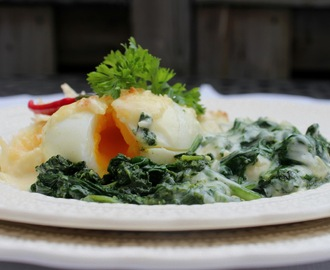 Meko skuvano jaje na spanaću ( Soft boiled eggs with spinach and morney sauce )