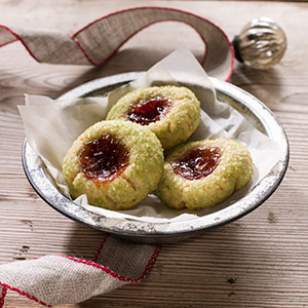 Christmas Strawberry Jam Thumbprint Cookies
