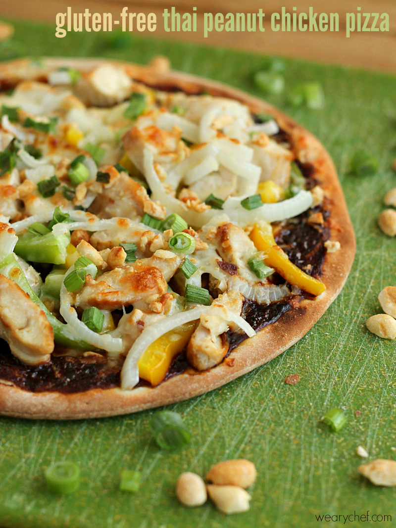 Gluten Free Peanut Chicken Thai Pizza {Plus an Udi's Giveaway!}
