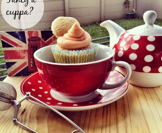 Fancy a cuppa cupcake ? Earl grey tea cupcake filled with cookie dough filling, vanilla buttercream frosting topped with a vanilla wafer