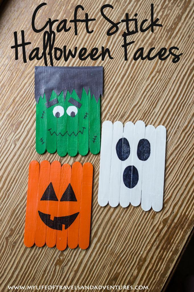 Craft Stick Halloween Faces: Frankenstein, A Ghost and A Pumpkin