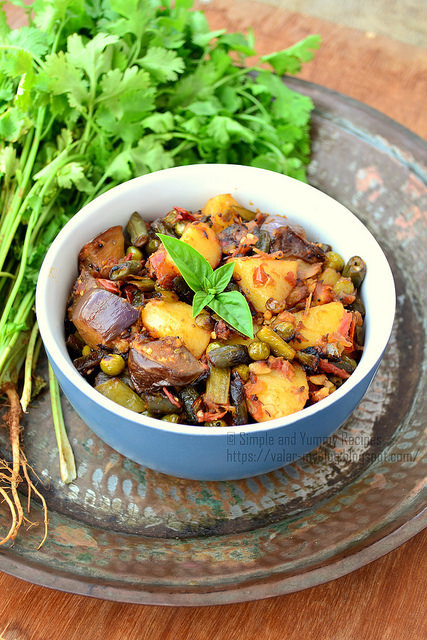 Healthy Mixed Vegetable dry curry | Easy & Simple dry curry with Potato, Beans, Cluster Beans, Brinjal and Greenpeas