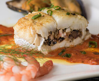 Hake Stuffed with Mushrooms and Prawns