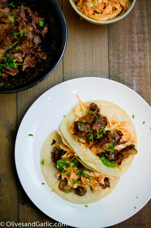 Soy Braised Beef Short Ribs (Asian Inspired Tacos)