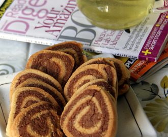 Almond pinwheel cookies - Recipe with Almond meal - Kids friendly recipe - Snack recipe - Eggless cookies recipe