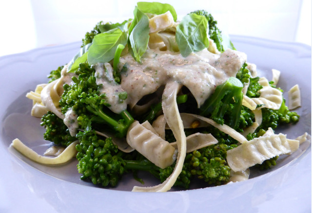 Robin's Fettuccine and Broccoli with Almond-Herb Sauce (vegan and gluten-free)