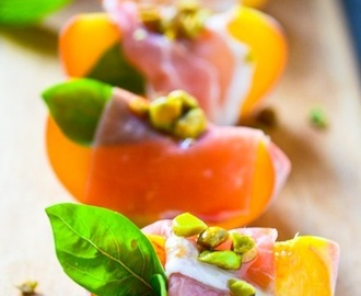 Peaches with Parma Ham and Pistachios Recipe