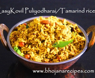 Easy Kovil Puliyodharai / Tamarind Rice