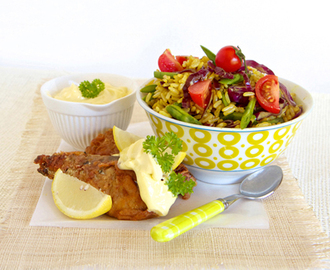 Spicy Rice salad with a side serving of crispy pilchards